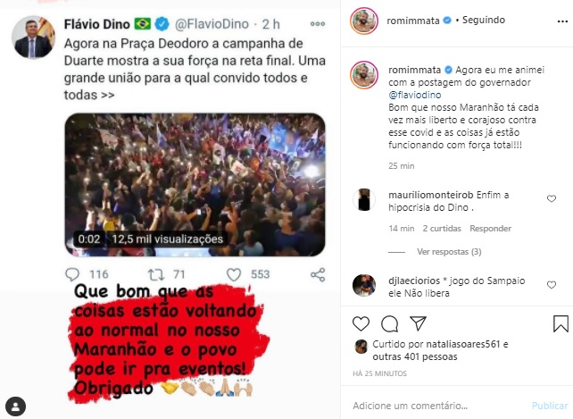 Cantor Romim Mata coloca Flávio Dino em 'saia justa'