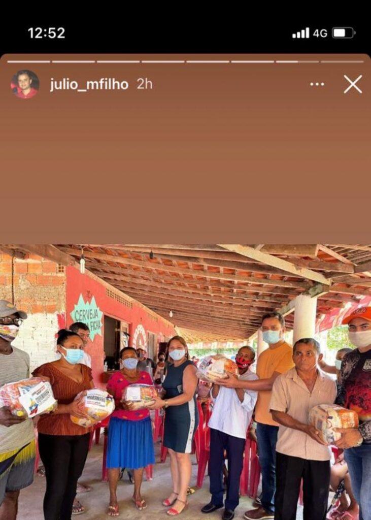 Afilhada e filho do prefeito de Ribamar fazem politicagem com cestas do Governo do Estado