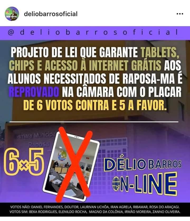 Raposa: vereadores da base do prefeito Eudes Barros rejeitam projeto e prejudicam alunos e professores