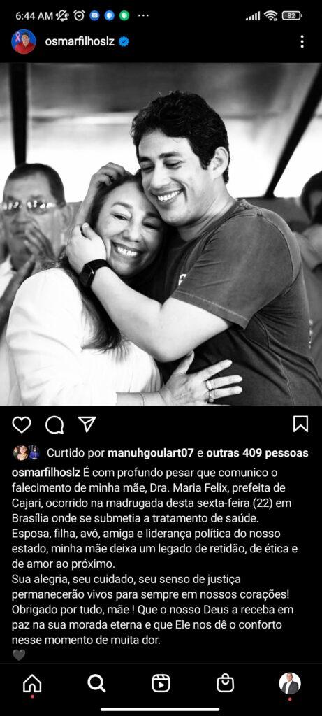 Urgente! Morre a mãe de Osmar Filho, Presidente da Câmara Municipal de São Luís